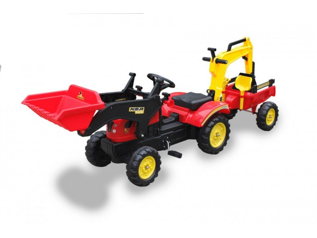 tomido slapaci traktor s nakladacem rypadlem a vleckou