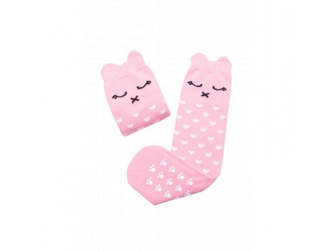 Mama's Feet Dětské podkolenky s kočičkou Crazy Animals Pinky Kitty růžové