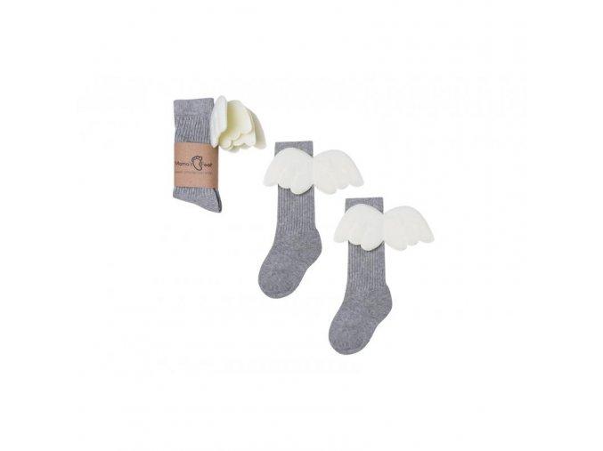 Mama's Feet Dětské podkolenky s křidélky Grey Angel šedé