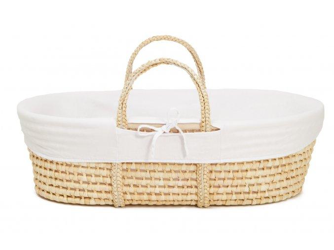 Ahojbaby Potah do Mojžíšova košíku pro miminko Organická bavlna White
