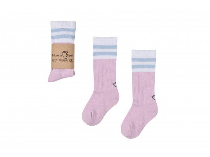 Mama's Feet Dětské podkolenky Back to Old School Lavender růžové