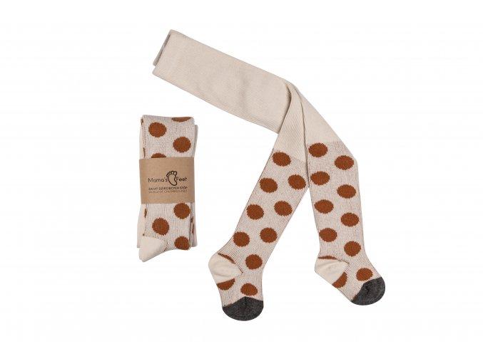 Mama's Feet Dětské jarní punčocháče Polka Dots Creamy Beige béžové