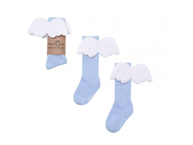 Mama's Feet Dětské podkolenky s křidélky Light Blue Angels modré