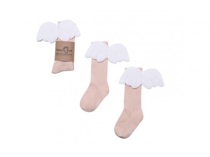 Mama's Feet Dětské podkolenky s křidélky Biscuit Angels meruňkové