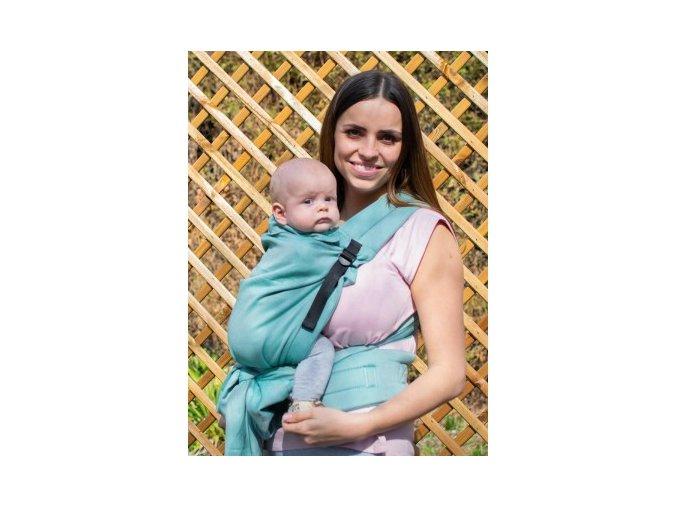 Kinder Hop Rostoucí ergonomické nosítko Half Buckle Little Herringbone Turquoise 100% bavlna, žakár