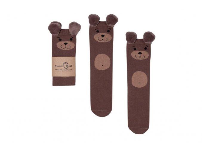 Mama's Feet Dětské podkolenky s medvíkem Eared Animals Rysiek