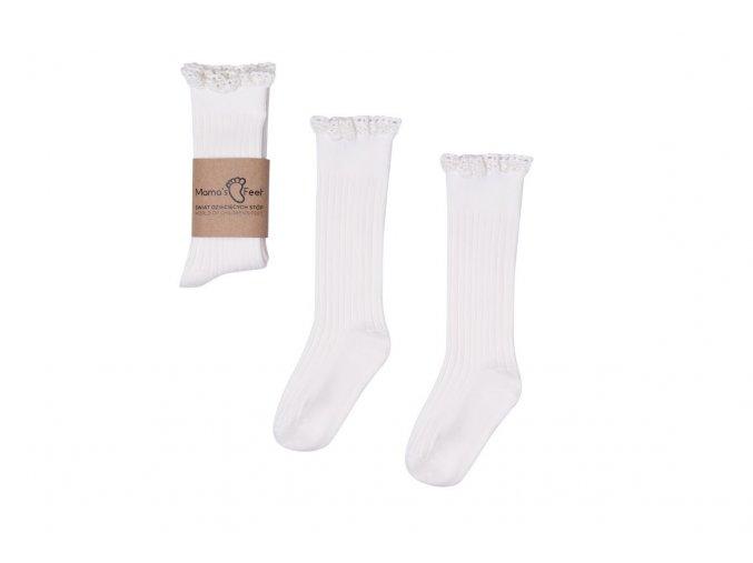 Mama's Feet Dětské podkolenky Mono Baby White bílé