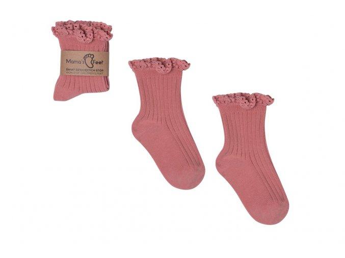 Mama's Feet Dětské ponožky Mono Baby Dirty Pink růžové