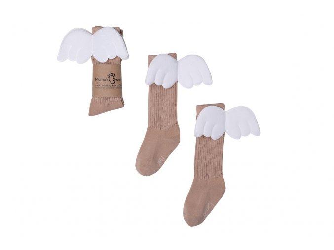 Mama's Feet Dětské podkolenky s křidélky Beige Angels béžové (6)