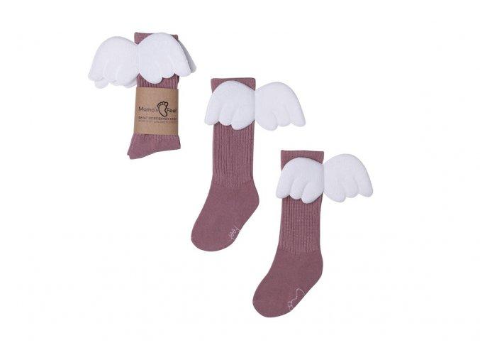 Mama's Feet Dětské podkolenky s křidélky Heather Angels fialové