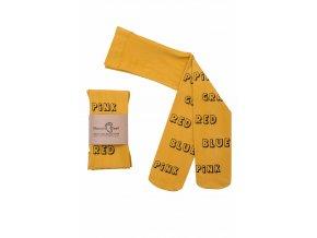 Mama's Feet Dětské jarní punčocháče Print Subtitles žluté (Velikost 2-4 roky)