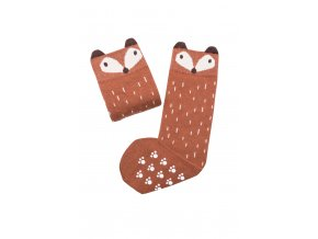 Mama's Feet Dětské podkolenky s liškou Crazy Animals Ginger Fox hnědé