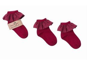 Mama's Feet Dětské ponožky s volánkem Spanish Barcelona červené