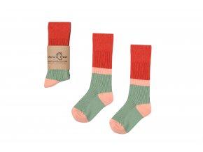 Mama's Feet Dětské podkolenky Retro Style Domino zeleno-červené