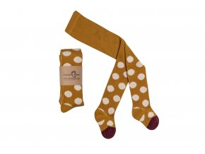 Mama's Feet Dětské jarní punčocháče Polka Dots Mustard White hořčicové