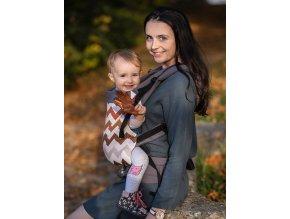 Kinder Hop Rostoucí ergonomické nosítko Multi Grow Brown Zig Zag 100% bavlna 2