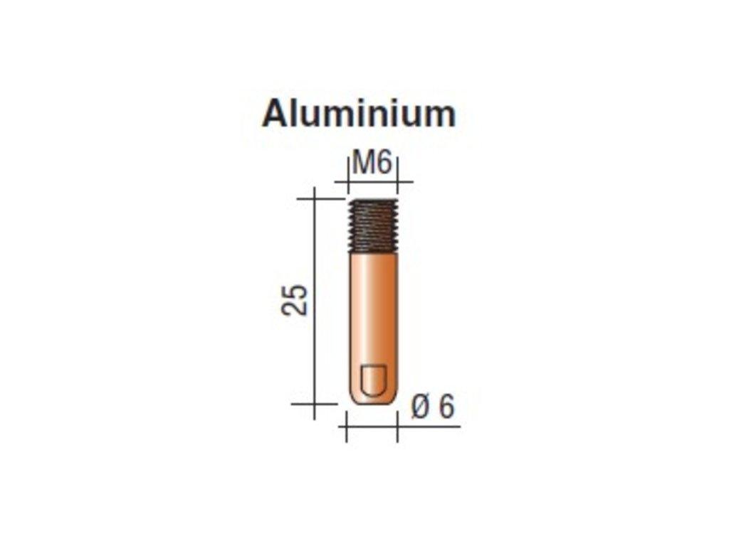 Kontaktná špička M6 x 25 Aluminium