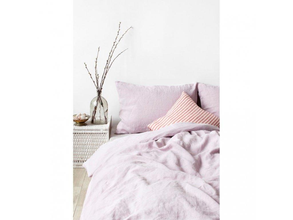 Lněné povlečení Pink Lavender 140x200,50x70