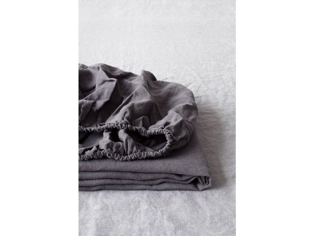 Lněné prostěradlo Dark Grey 160x200x20cm