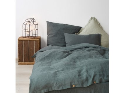 Forest Green Washed Linen Bed Set