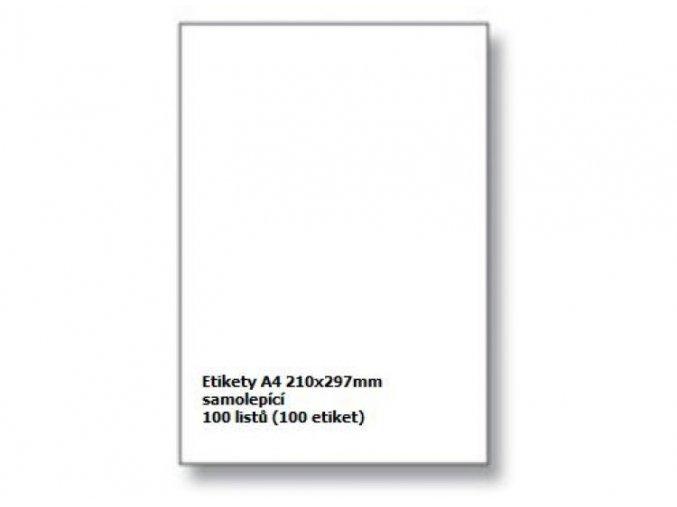 Etikety A4 210x297 mm - samolepící
