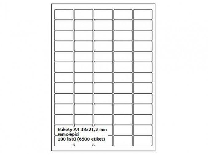 Etikety A4 38,1x21,2 mm - samolepící