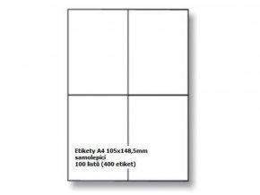 Etikety A4 105x148,5 mm - samolepící