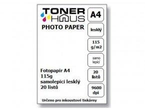 Fotopapír A4 115g (20 listů) - samolepící lesklý