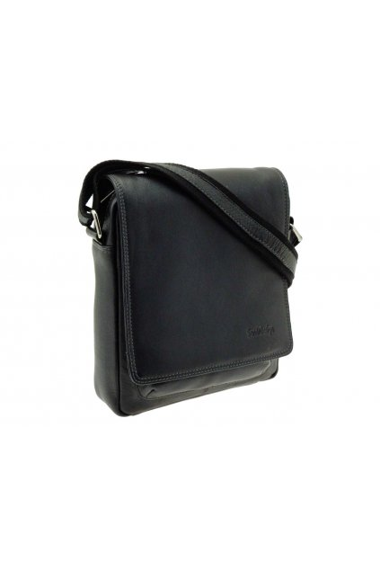 pánská kožená taška přes rameno černá PKK03 IG704 C
