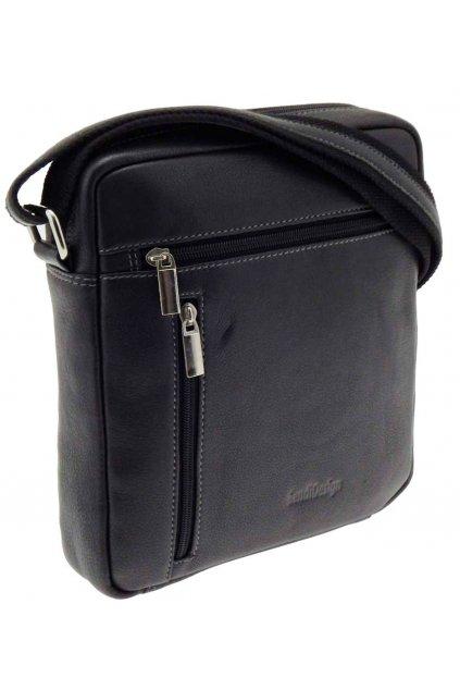 pánská kožená taška přes rameno černá TK03 IG789 C