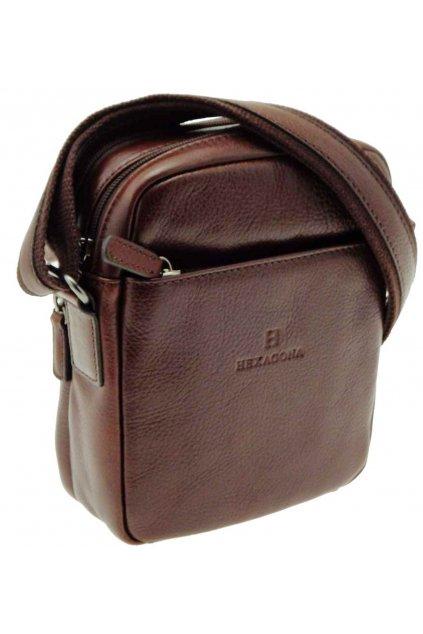 pánska kožená taška přes rameno černá PKK03 129477 H