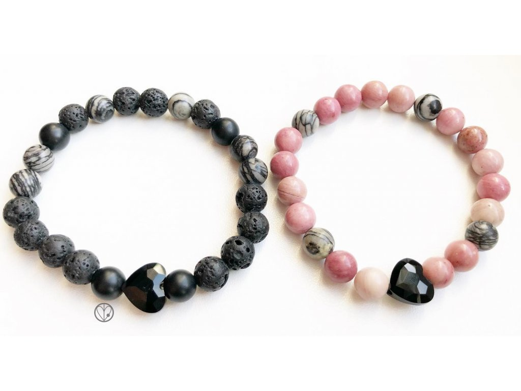 partnerske naramky black pink heart pro zamilovane