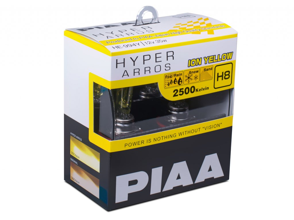 4412 autozarovky piaa hyper arros ion yellow 2500k h8 teple zlute svetlo 2500k pro pouziti v extremnich podminkach