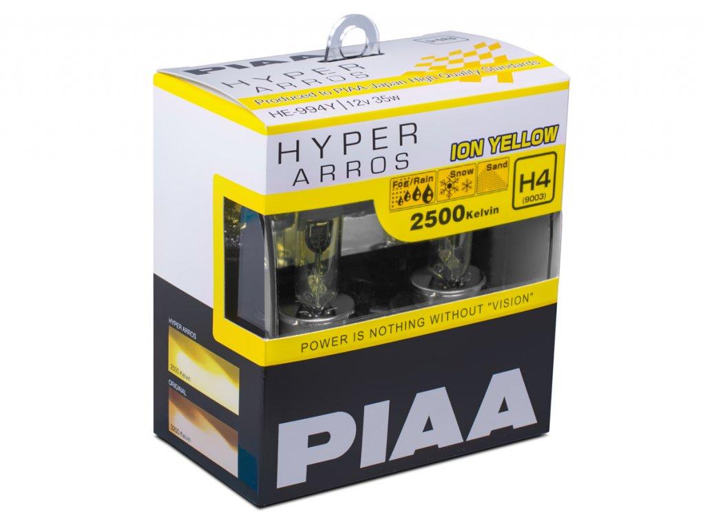 4481 autozarovky piaa hyper arros ion yellow 2500k h4 teple zlute svetlo 2500k pro pouziti v extremnich podminkach