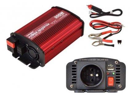 měnič napětí cs12/300usb 12V na 230V 300W, USB