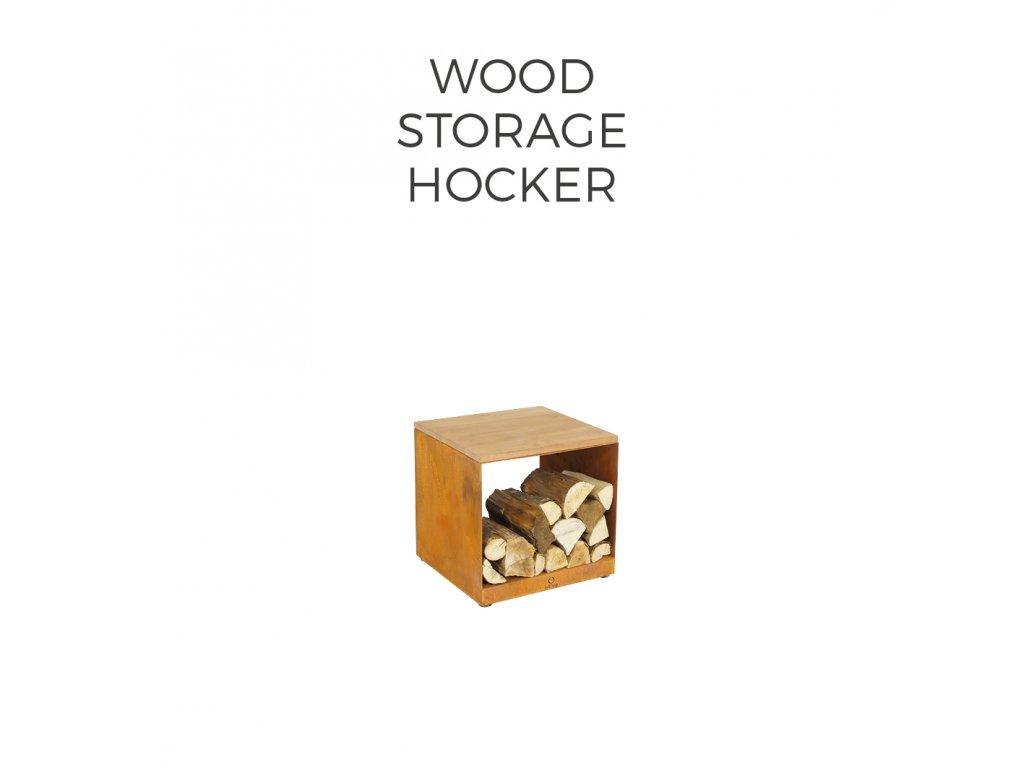 WOOD STORAGE HOCKER