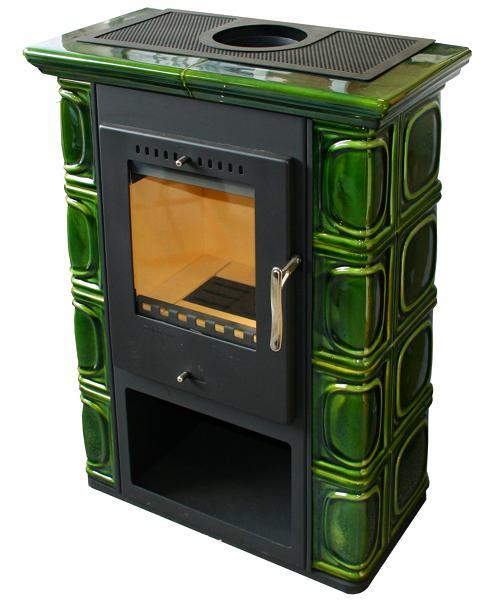Thorma Borgholm Keramik kachlová krbová kamna Barva: olivově zelená