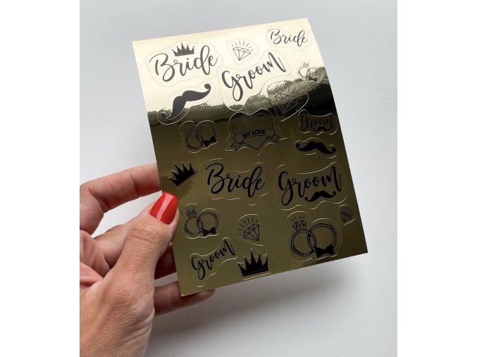 Sada samolepek - Zlatá - Bride & Groom
