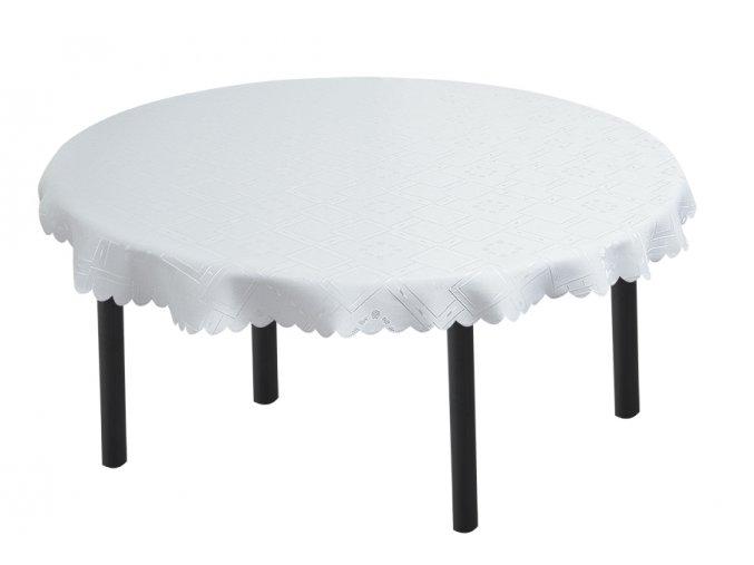 Žakárový kulatý ubrus KUBE bílý 140 cm
