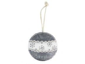 Závěsná dekorace kovová OZDOBA šedá