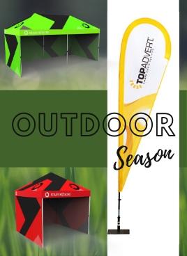Reklamní vlajky, nůžkové stany - outdoor sezóna