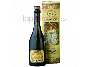 Mucha Sekt Chardonnay brut v dárkovém boxu 11,5 % 0,75 l