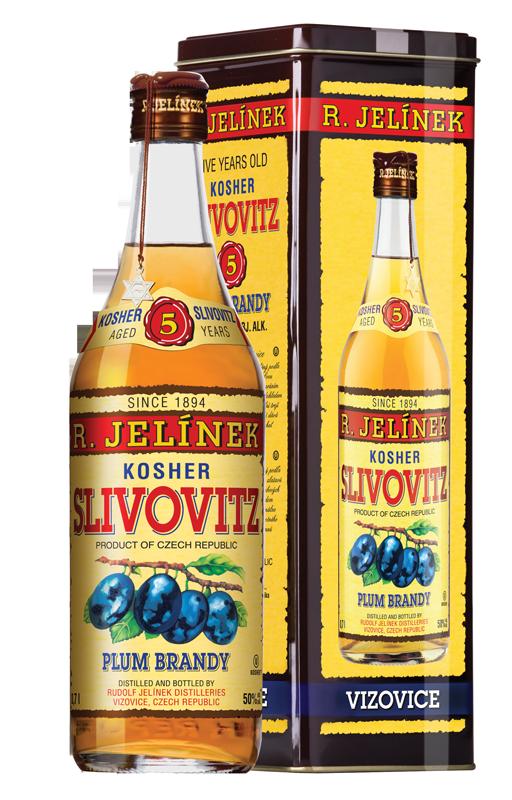 Rudolf Jelínek Slivovice Kosher Slivovitz 5 yo Zlatá R.Jelínek tuba 50 % 0,7 l (holá láhev)