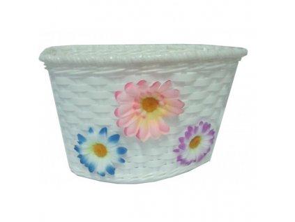Košík detský predný plast, biely s kviet