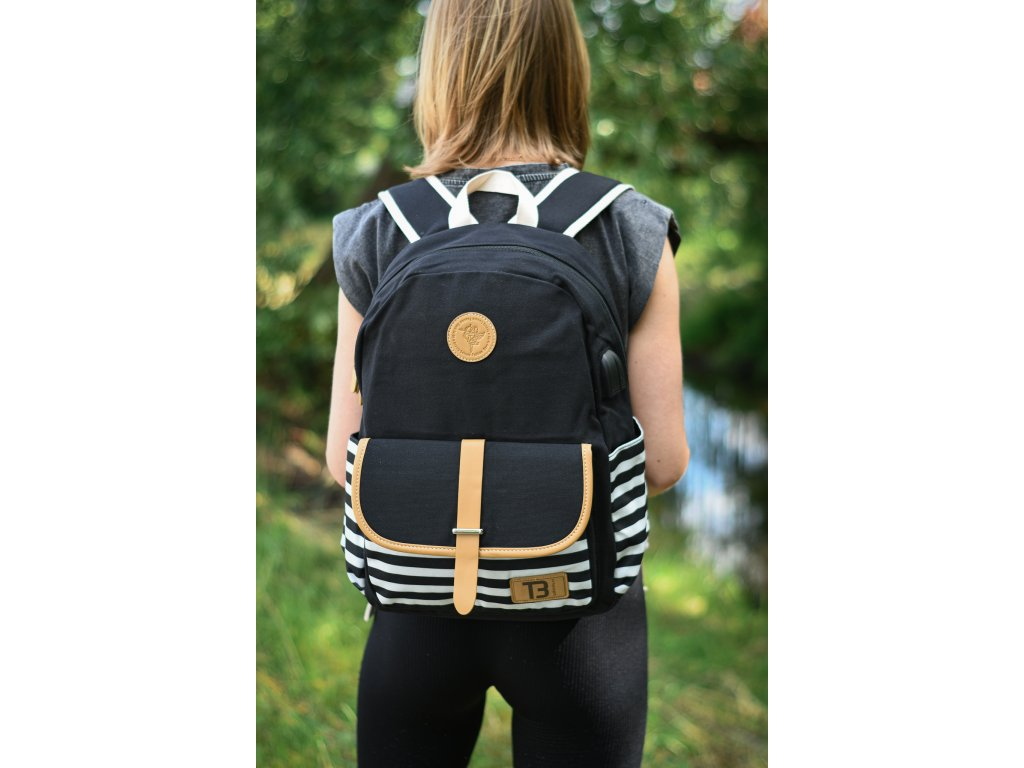 Sada Batoh Canvas Black Stripes with pocket 19 l