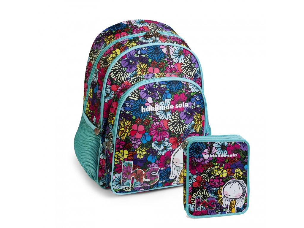 Dívčí sada školní batoh+double pouzdro Busquets Bouquet Hablando Sola