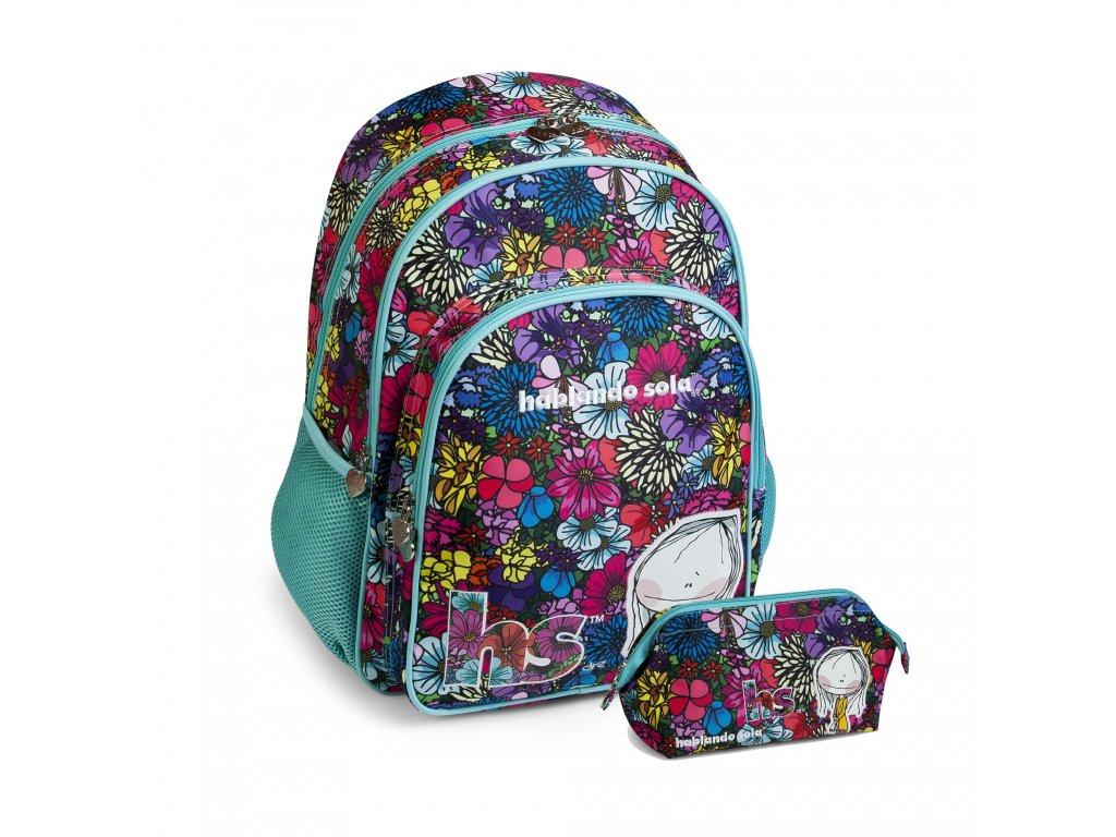 Dívčí sada školní batoh+pouzdro Busquets Bouquet Hablando Sola