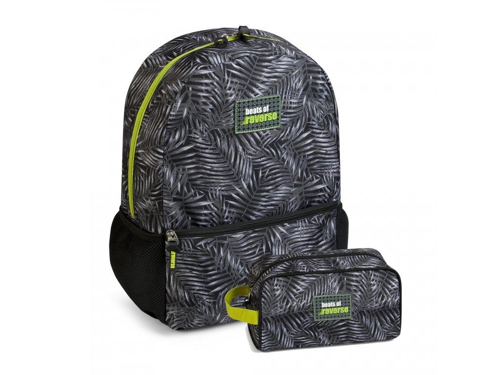 Chlapecká sada školní batoh+pouzdro Busquets Green Reverse