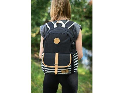 Sada Batoh Canvas Black Stripes with pocket 18 l