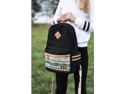 Dámský městský batoh Canvas TopBags Winter Paterrn - Black 16 l